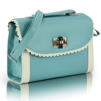 Turq Light Blue Lace Shoulder Bag/Satchel from FUNKISS