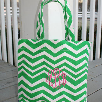 Monogrammed Canvas Open Top Tote Chevron Design