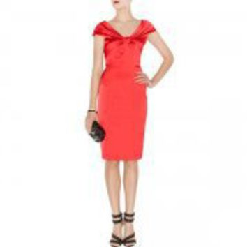 Bqueen Colour Block Satin Dress Red K265R - Designer Shoes|Bqueenshoes.com