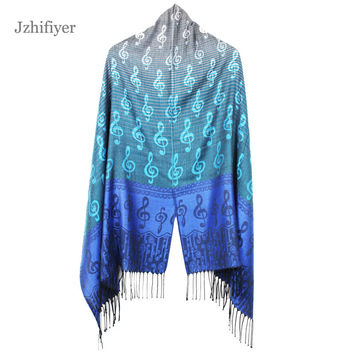 jzhifiyer Free Shipping 180G 65*174cm+8*2CM Fringe Musical Note G-Clefs Fashion Jacquard Scarf Pashmina Shawl Wrap Winter scarf