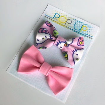 Hello Kitty Easter Hair Bows / Candy Pink Spring Hairbows Pack / Easter Eggs Bow Clips Set ./ Pastel Girls Bows / Spring Outfit Accessories