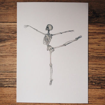 Ballet, ballerina skeleton, dance, anatomy art, print, watercolor painting, painting, drawing, picture