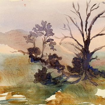 Plein Air Dawn Landscape Watercolor Painting