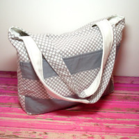 Polka Dot Tote - Gray White - Polka Dot - Cotton Canvas - Handbag - Spring Tote - Vacation Tote