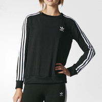 adidas Originals Black Three Stripe Long Sleeve T-Shirt