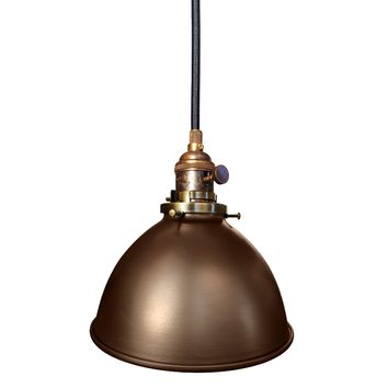 "Factory 7 1/16"" Metal Shade Oil Rubbed Bronze Pendant Light"
