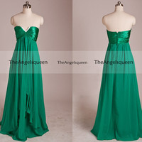 Elegant Green Strapless Deep V-neck Asymetric Long Party Dress,bridesmaid dresses,cocktail dresses,evening dresses,senior prom dress