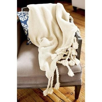Ben and Jonah Europa Throw Blanket with Long Fringes (Cream)