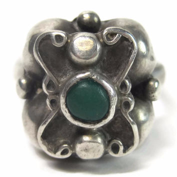 Unusual Vintage Mexican Sterling Malachite Ring Size 9