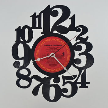 Vinyl Record Clock Wall Hanging  (artist is Barbra Streisand)