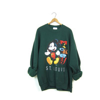 80s Mickey Mouse Sweatshirt ST. LOUIS Dark Green Disney Pullover 1980s Novelty Sweater Slouchy Oversized Retro Hipster Top Womens XL Large