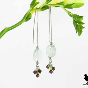 Hammered Sterling Silver slim drop earrings. Green fluorite drop with garnet accents