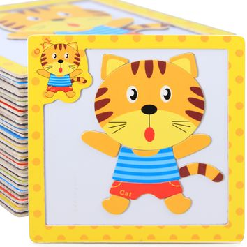 Kids 3D Magnetic Puzzles Jigsaw Wooden Toys Cartoon Animals Puzzles Tangram Child Educational Toy for Children