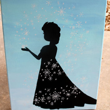 Queen Elsa painting // light blue background // white snowflakes // 11x14 inch canvas // READY TO SHIP