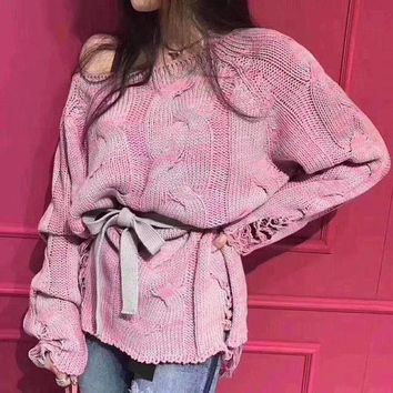 Knit Ripped Holes Long Sleeve Mixed Color Sweater [39013777423]