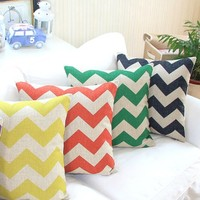"MagicPieces Cotton and Flax Decorative Pillow Case Pillow Cover Case 18"" x 18"" Square Shape Colorful Waves B"