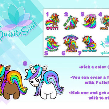 Colorful Unicorn Decorative Cuss Word Sticker Set Erin Condren Planner/Custom ECLP Kawaii Sassy Girl Design Sticker/Life Planner Accessories