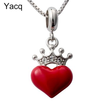 Yacq 925 Sterling Silver Heart Crown Necklace Pendant W Chain Birthday Party Jewelry Gifts for Women Girls Her Girlfriend HN03