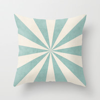 robins egg blue starburst Throw Pillow by her art