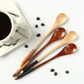 Long Handle Japanese Wooden Tea, Honey and Dessert Spoon - Set of 6