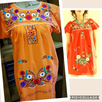 Mexican Traditional Embroidered Mini Dress