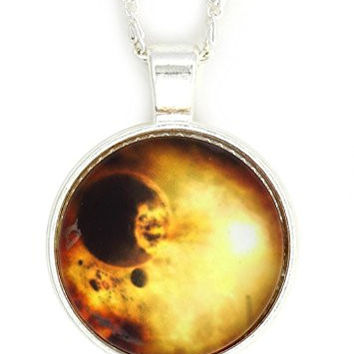 Eclipse of the Sun Necklace Silver Tone NV57 Outer Space Solar Lunar Planets Art Pendant Fashion Jewelry
