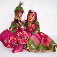 Vintage Hindu, India, Handmade Wood-carved Doll Pair