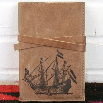 Large Ship Leather Journal *Free Customization!*