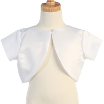 Satin Bolero Dress Jacket in White, Ivory, Black or Pink (Girls 2T to Size 14)