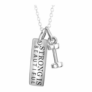 "Tiny ""Strong Is Beautiful"" Dumbbell Necklace"