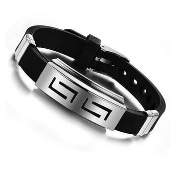 Explosion models Fashion Wristband black Punk Rubber Silicone Stainless Steel Men Bracelets Bangles pulseras hombre caucho