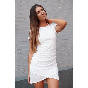 Find Another You Ruched T-Shirt Dress (Ivory)