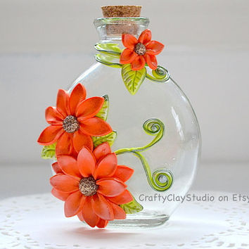 Flower Bottle - OOAK Flower Decor - Polymer Clay Flowers - Glass Bottle Decor - Flower Decor - Decorated Bottle - Embellished Bottle