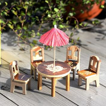 1 set Miniature Fairy Wooden Desk+Chair+Umbrella Dollhouse Garden Home Ornament Decor