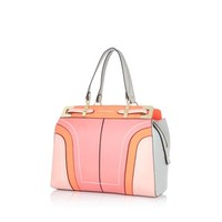 Pink colour block structured tote bag