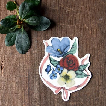 Temporary Tattoo Floral Bouquet with Ribbon