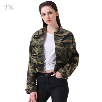 PK military jacket women fashion 2017 army green spring bomber jackets women set cami print jacket with washed effect patches