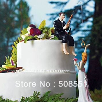 ONETOW Fishing With Love Wedding Cake Toppers Couple Decoration = 1929438532
