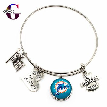 USA Fashion Miami Dolphins Sports Ginger Glass Snaps Buttons Adjustable Expandable Bangle Bracelets For Women DIY jewelry Charms
