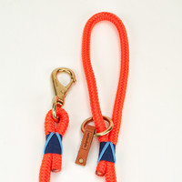 Coastal Rope Dog Leash - Orange with Navy Blue and Light Blue