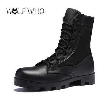 Army Men's Tactical Boots Cow Suede Leather Desert Tactics Combat Boots Outdoor Men Combat Hunting Military Botas Chaussures