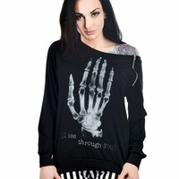 Skeleton Hand - I See Through You Zipper Top