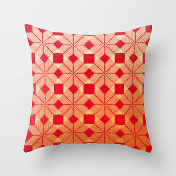 Fire Throw Pillow by Gréta Thórsdóttir  #scandinavian #snowflake #heat, #passion #red #gold #pattern #livingroom