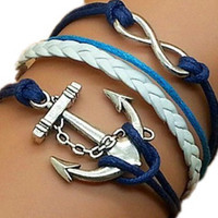 Nautical Anchor Karma Bracelet With Navy Blue & Sky Blue Strings