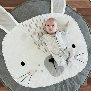 85cm New Cute Rabbit Bear Inflant Baby Blanket Play Mat Cartoon Game Play Mats Carpet Child Toy Climb Mat Indoor Christmas Gift