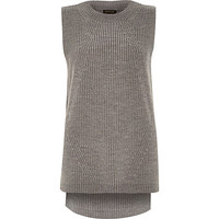 River Island Womens Grey sleeveless knitted tunic