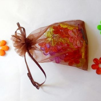 15*20cm 500pcs Multi color gift bags for jewelry/wedding/christmas/birthday Yarn bag with handles Packaging gifts Organza bags