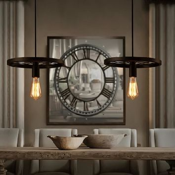 Loft Style Iron Art Wheel Droplight Edison Industrial Vintage Pendant Light Fixtures For Dining Room Hanging Lamp Lampara
