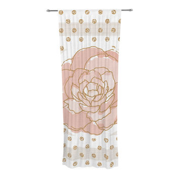 "Pellerina Design ""Watercolor Peony"" Pink Floral Decorative Sheer Curtain"