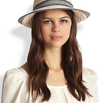 Eric Javits Big Deal Fedora Hat (13591) (Cream/Blue Tweed)